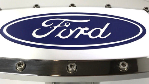 Image of Ford Emblem Logo Hitch Cover - Polished Aluminum (Top)