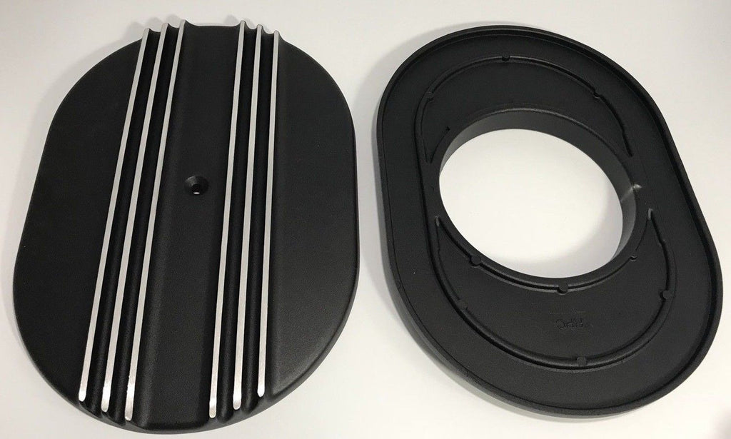 "Finned Black Aluminum Air Cleaner Assembly - 4BBL 12"" Oval - Top & Bottom"