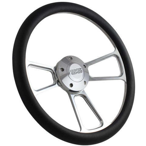 "Image of 14"" Polished Billet Aluminum Steering Wheel, Choice of Half Wrap, Choice of Horn Button - R&W Speed Shop"