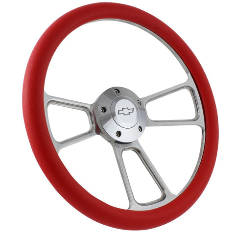 "14"" Polished Billet Aluminum Steering Wheel, Choice of Half Wrap, Choice of Horn Button - R&W Speed Shop"