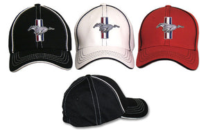 Flex Fit Ford Mustang Hat with Tri Bar Pony Logo / Emblem