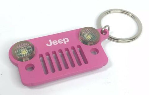 Image of Jeep Wrangler Keychain - Pink Metal Front Grill W/ LED Headlights - Front 2