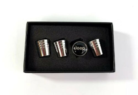 Jeep Valve Stem Caps - Tapered Chrome w/ Black - Set