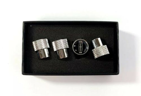 Lincoln Valve Stem Caps - Knurled Chrome w/ Black - Set