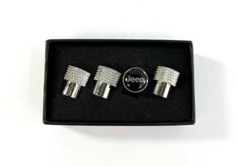 Jeep Valve Stem Caps - Knurled Chrome w/ Black - Logo