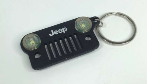 Jeep Wrangler Keychain - Black Metal Front Grill W/ LED Headlights - Front 2