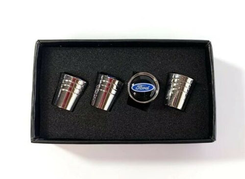 Ford Oval Valve Stem Caps - Tapered Chrome w/ Black - Set