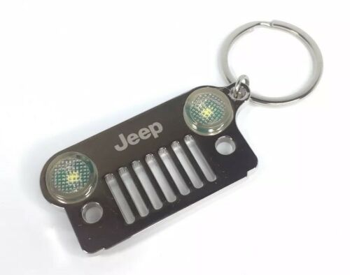 Jeep Wrangler Keychain - Chrome/Silver Metal Front Grill W/ LED Headlights - Front 2