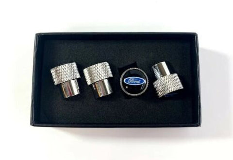 Ford Oval Valve Stem Caps - Knurled Chrome w/ Black - Set