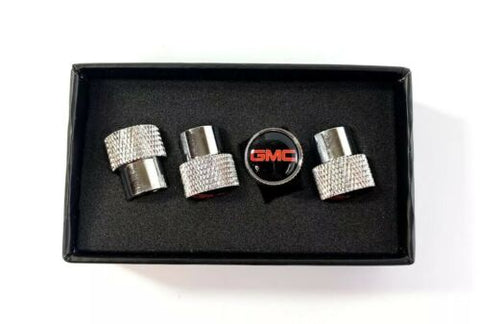 GMC Valve Stem Caps - Knurled Chrome w/ Black - Set
