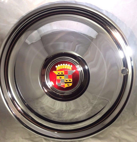 "Image of Cadillac Hubcaps - Chrome Plated 16"" Sombrero (Set of 4) - Front"