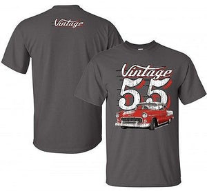 55 Chevy T Shirt - Gray w/ Red Car - R&W Speed Shop