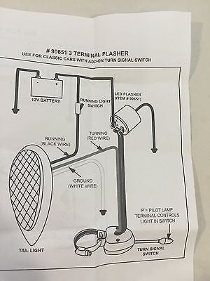 Turn Signal LED Flasher - 3 Terminal 12V - Diagram