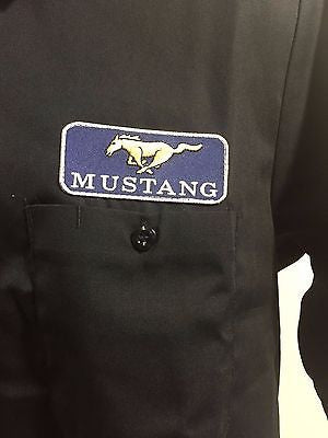 Image of Ford Mustang Mechanic Shirt - Black Button-Down - Mustang Logo