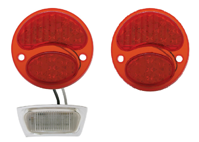 Image of Pair of Ford Model A Tail Light 6V LED Conversion Inserts - Driver & Passenger Side - 1928-1931 - Pair
