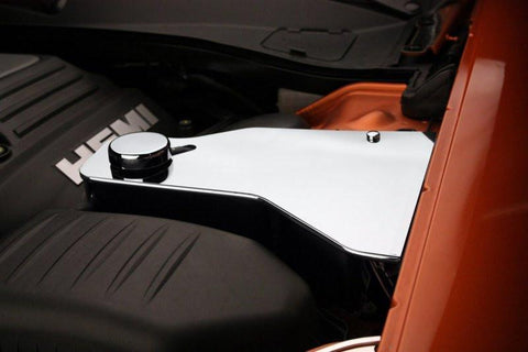 Image of 2011-2019 Dodge Challenger Water Tank Cover with Cap - Polished Stainless Steel - Hemi