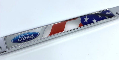 Image of Ford Racing License Plate Frame - Chrome with American Flag (Logo)