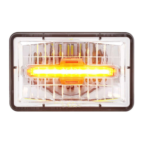 "Image of 4"" X 6"" Rectangular LED Headlight With Amber Auxiliary Light - Low Beam"