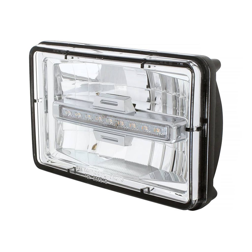 "4"" X 6"" Rectangular LED Headlight With Amber Auxiliary Light - Low Beam"
