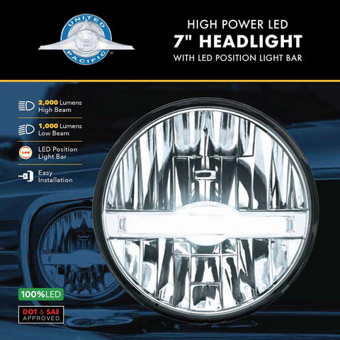 "Image of 7"" High Power LED Headlight With LED Position Light Bar"