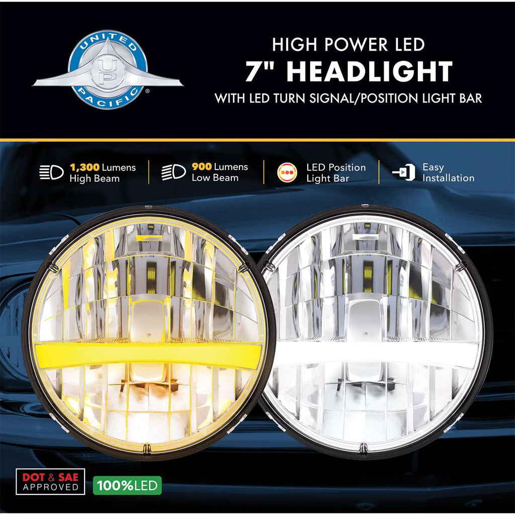 "7"" High Power LED Headlight w/ Turn Signal & Amber Position Light Bar"