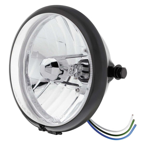 "Image of Black 5-3/4"" Motorcycle Headlight Crystal H4 Bulb - Side Mount"