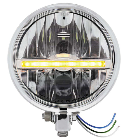 "Image of Chrome 5-3/4"" Motorcycle Headlight 9 LED Bulb w/ Amber LED Light Bar - Bottom Mount"