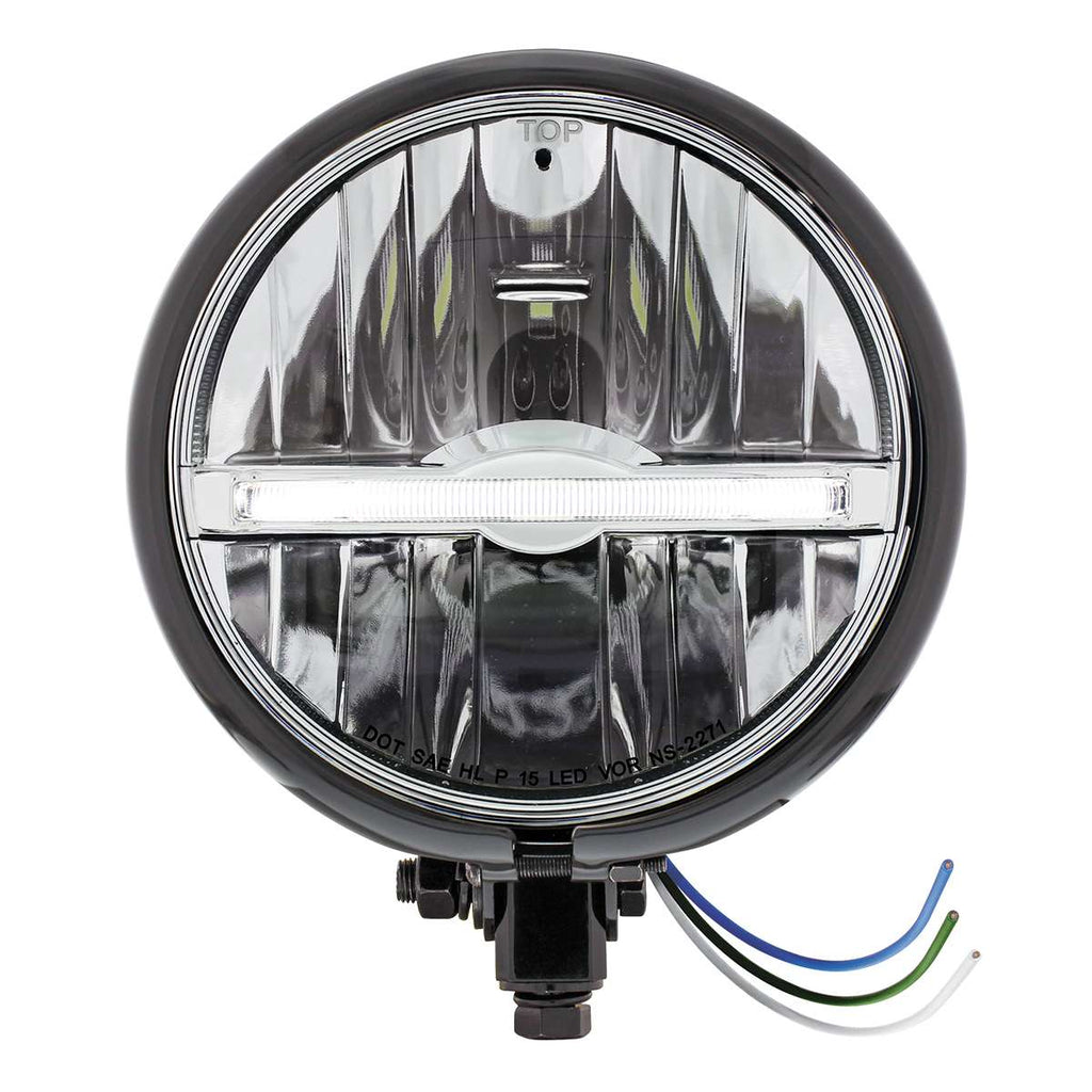 "Black 5-3/4"" Motorcycle Headlight 9 LED Bulb w/ White LED Light Bar - Bottom Mount"