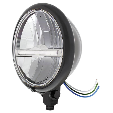 "Image of Black 5-3/4"" Motorcycle Headlight 9 LED Bulb w/ White LED Light Bar - Bottom Mount"