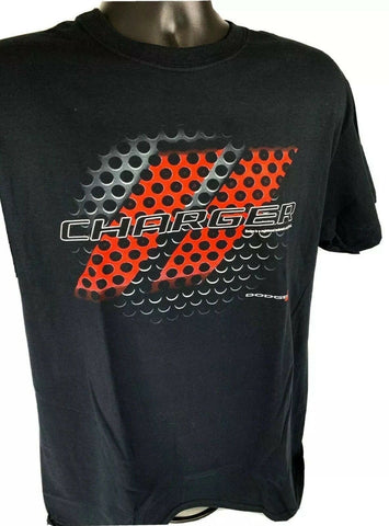Black T-Shirt w/ Red & Black Dodge Charger Grill Emblem / Logo - Licensed - 1