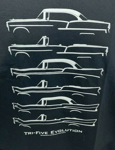 Image of Chevrolet T-Shirt - Gray w/ Tri-5 Models 1955-57 Bel Air 210 / 150 (Licensed) - 1