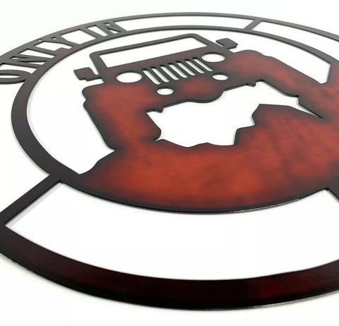 "Only In A Jeep Off Road Laser Cut Metal Sign - Black / Red (14"" Diameter) - 2"