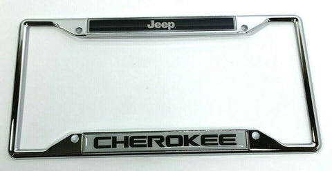 Image of Jeep Cherokee License Plate Frame - Chrome w/ Black - Main