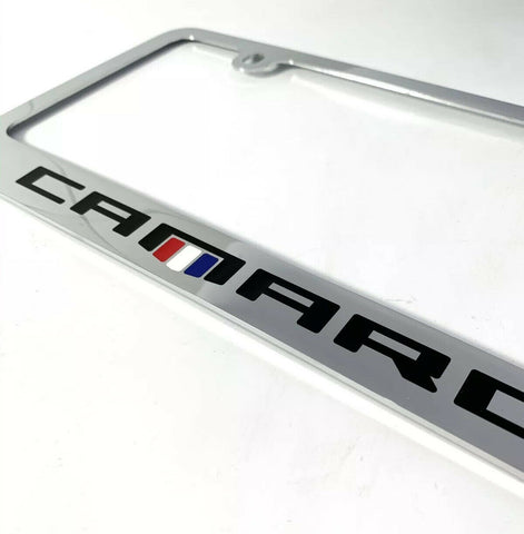 Chevy Camaro Chrome License Plate Frame - Premium Engraved Emblem - 1