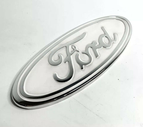 "Image of Ford Grill Tailgate Oval Emblem - 9"" White & Chrome Premium Billet Aluminum"