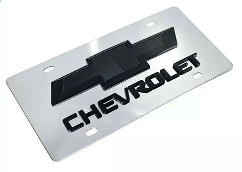 Image of Chrome Chevy Bowtie Emblem License Plate w/ 3D Black Chevrolet Script Logo