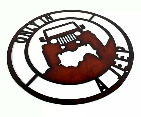 "Only In A Jeep Off Road Laser Cut Metal Sign - Black / Red (14"" Diameter) - 1"