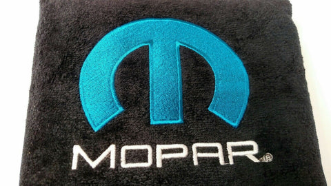 Pair 2 Universal Emblem Black Towel Protector Covers w/ Blue M - Licensed by Mopar - 1