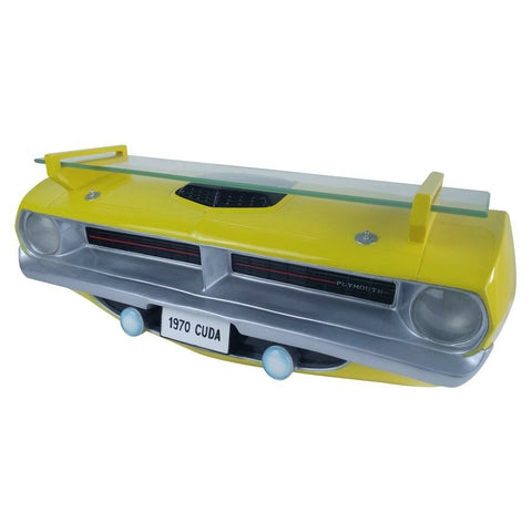 1970 Plymouth Barracuda Cuda Wall Shelf - Yellow with Working Headlights-Live Fast Supply Company