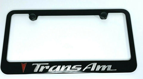Pontiac Trans Am License Plate Frame - Black w/ Red and Silver Logos - Front