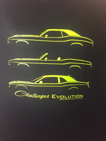 Black T-Shirt w/ Green 1970-2017 Dodge Challenger Models Evolution (Licensed) - 1