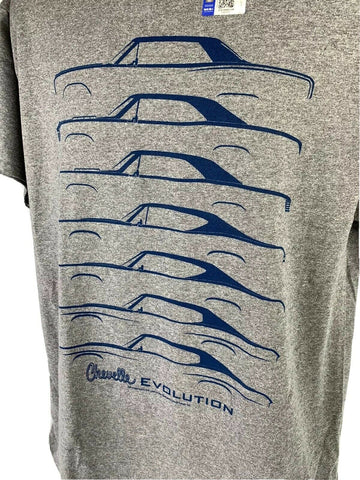 Chevrolet Chevelle Evolution T-Shirt - Gray w/ Blue Generation Body Styles - 3