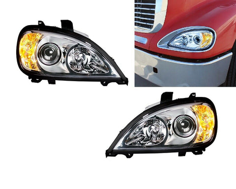Image of Pair of Chrome Projection Headlights for 1996-2018 Freightliner Columbia