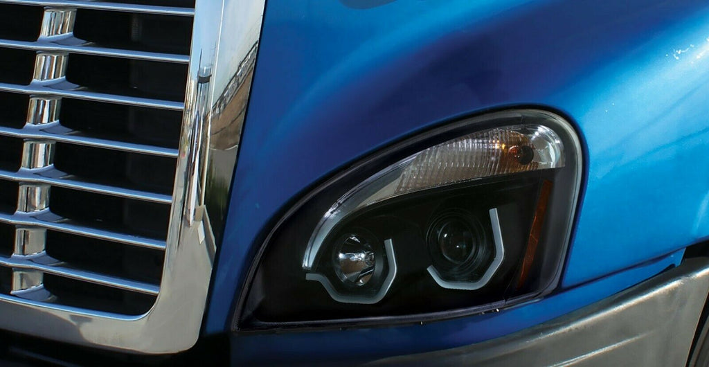 Pair of Blackout Headlights with LED Position Lights for Freightliner Cascadia - 6