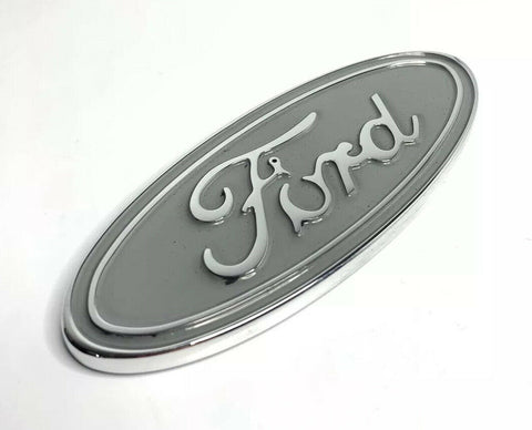"Image of Ford Oval Tailgate Emblem - 5"" Premium Chrome & Silver Billet Aluminum"