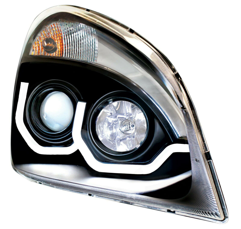 Pair of Blackout Headlights with LED Position Lights for Freightliner Cascadia - 2