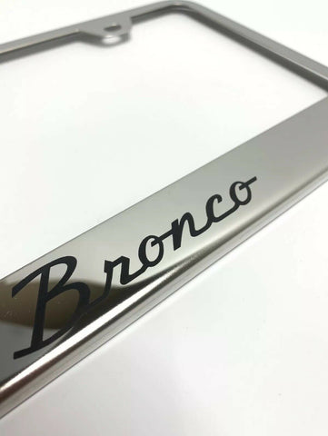 Ford Bronco License Plate Frame - Chrome w/ Black Logo - Logo