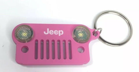 Image of Jeep Wrangler Keychain - Pink Metal Front Grill W/ LED Headlights - Front