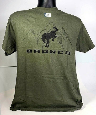 New 2021 Ford Bronco T-Shirt - Green w/ Black Emblem / Logo & Script - 1