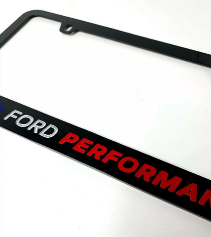 Ford Performance Black License Plate Frame w/ Logo & Script - Premium Engraved - 3
